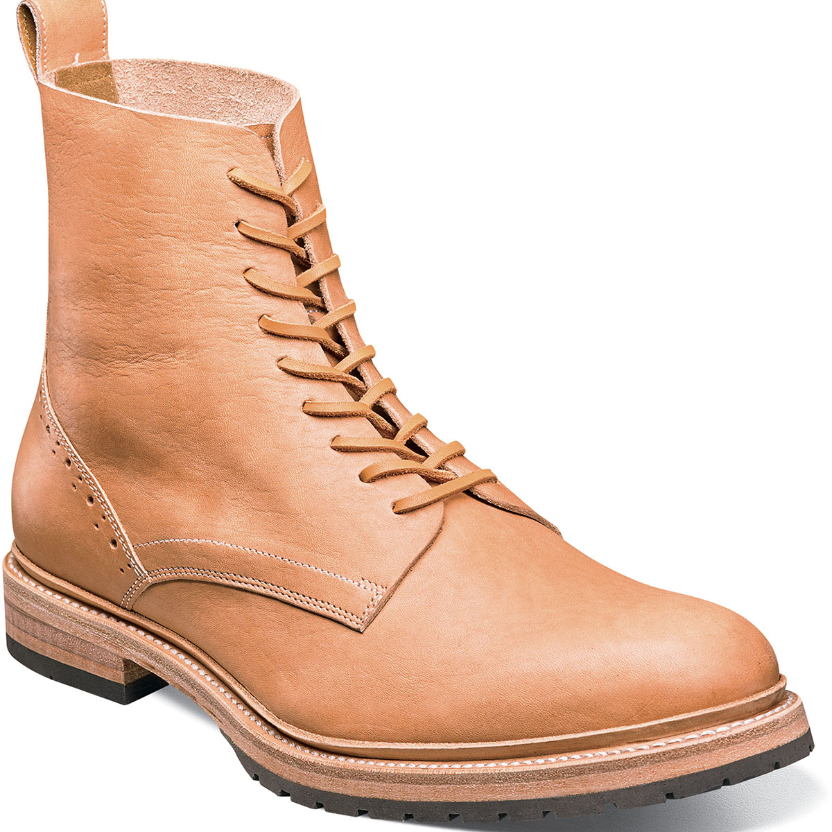 Stacy Adams M2 High Top Plain Toe Boot Natural