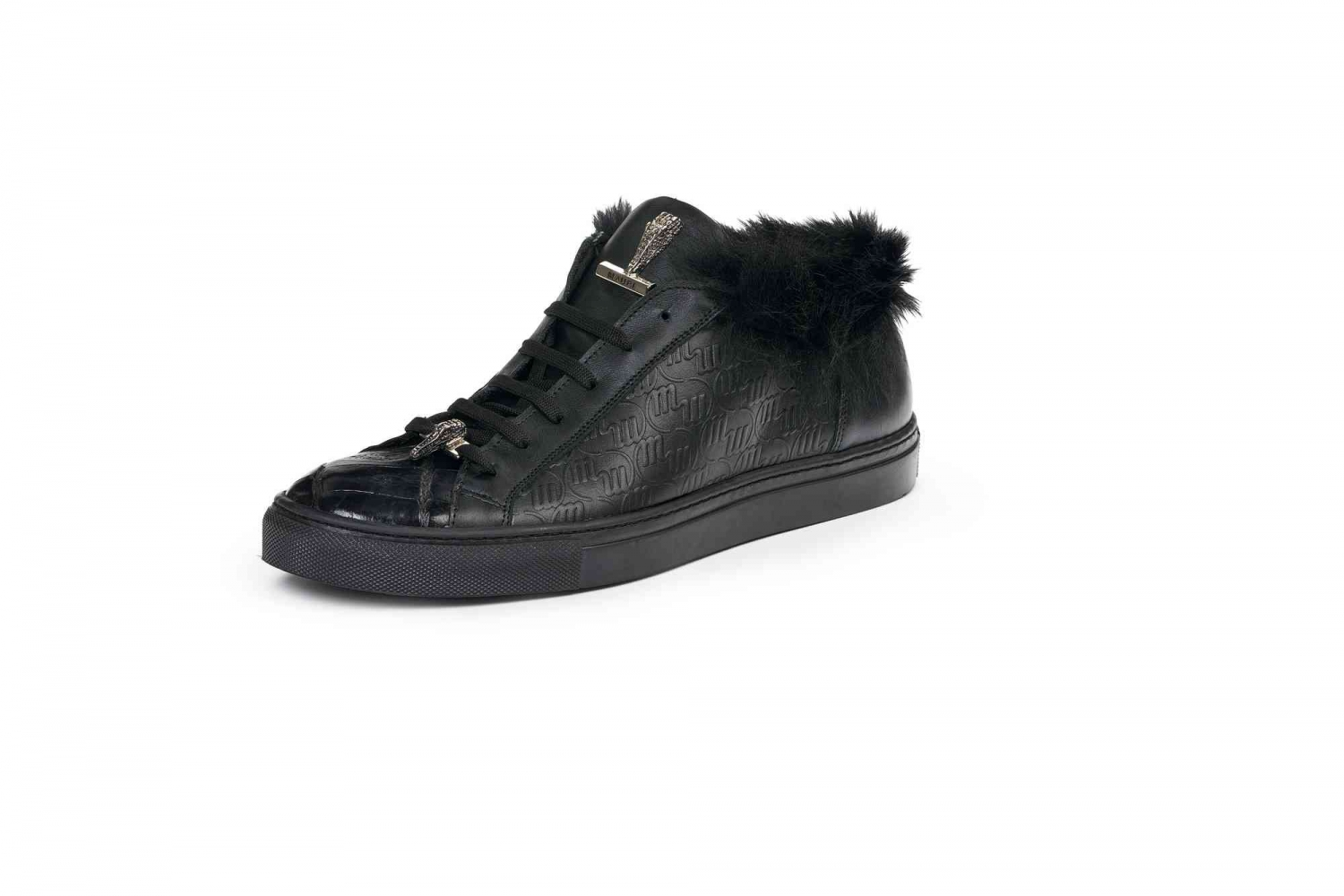 Mauri Crocodile Fur Sneaker Black 8591