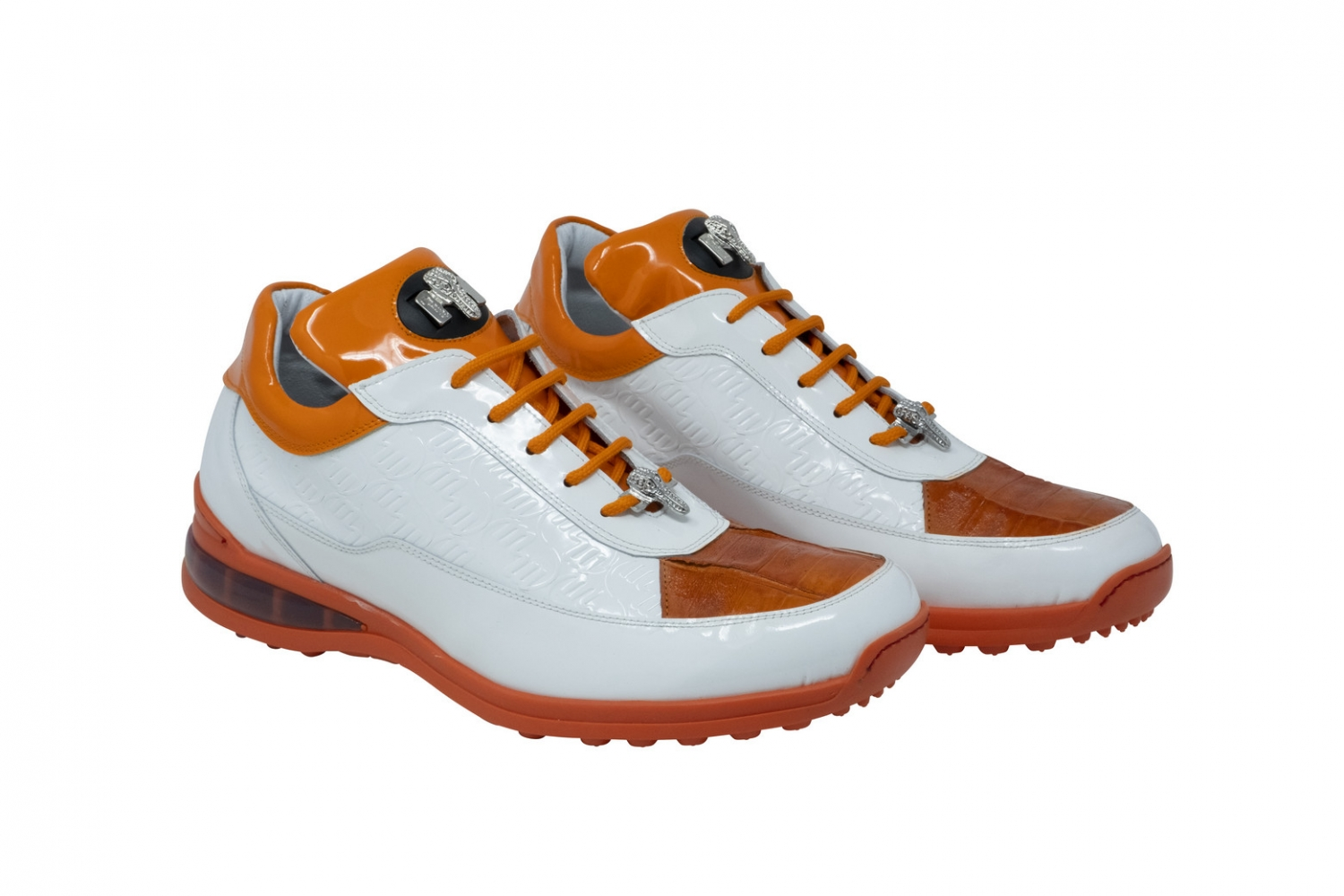 2020 Mauri Bubble Patent Leather Logo Sneaker White Orange 8900/2