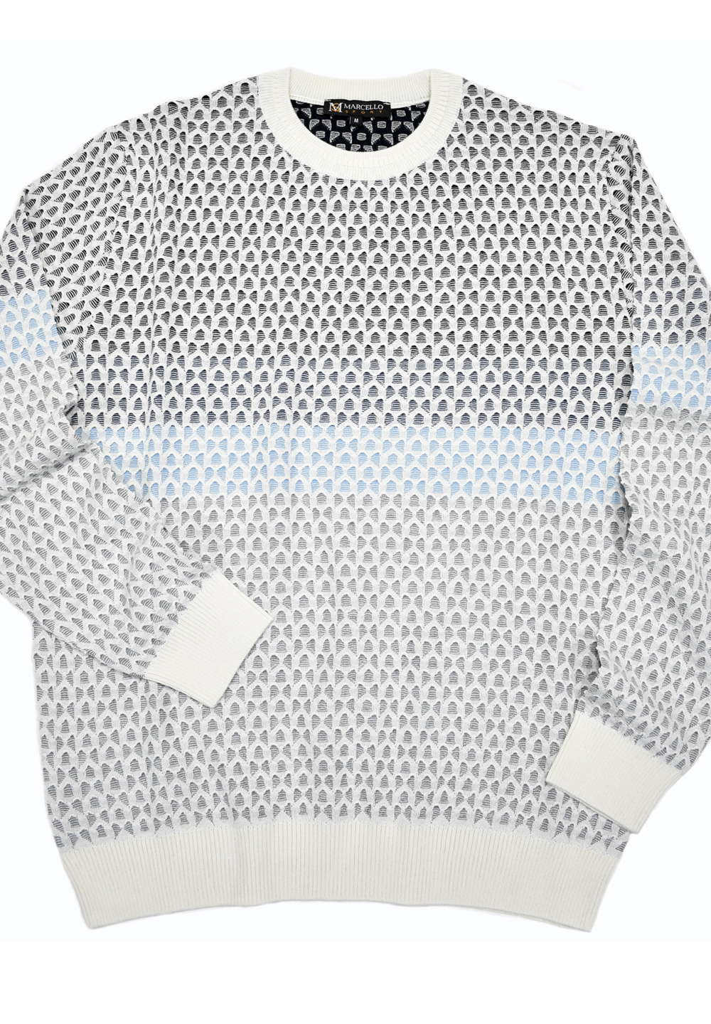 Marcello Knitted Crew Neck Sweater White 519