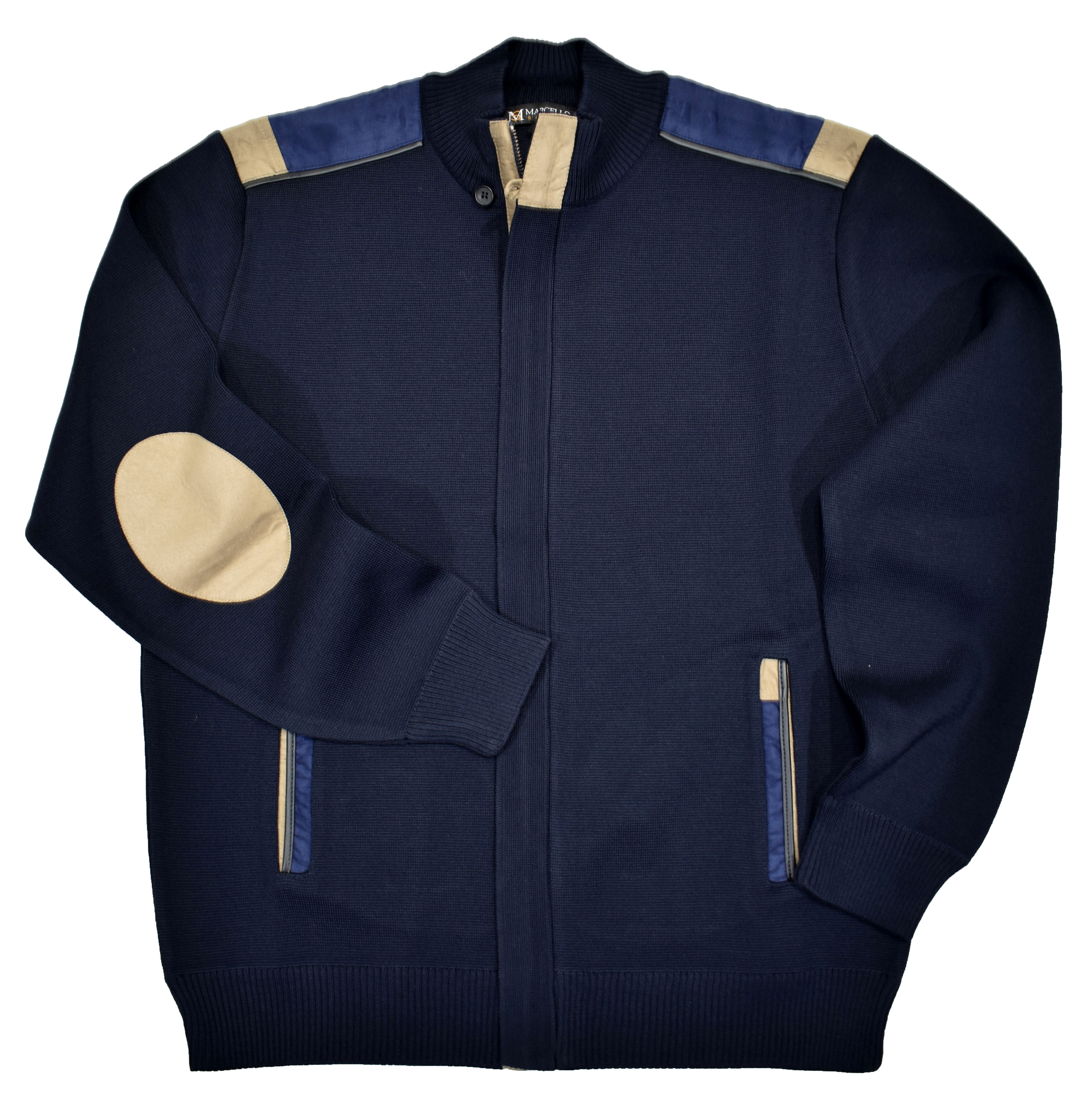 Marcello Mock Neck Zipper Sweater Navy 525
