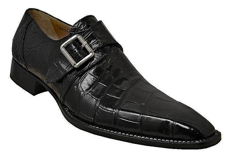 2019 Spring Mauri Alligator Single Monk Strap Shoe Black 53154