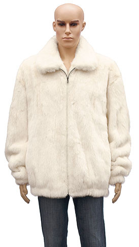 Winter Fur Men's Full Skin Mink White Jacket BIGS M59R01WTT