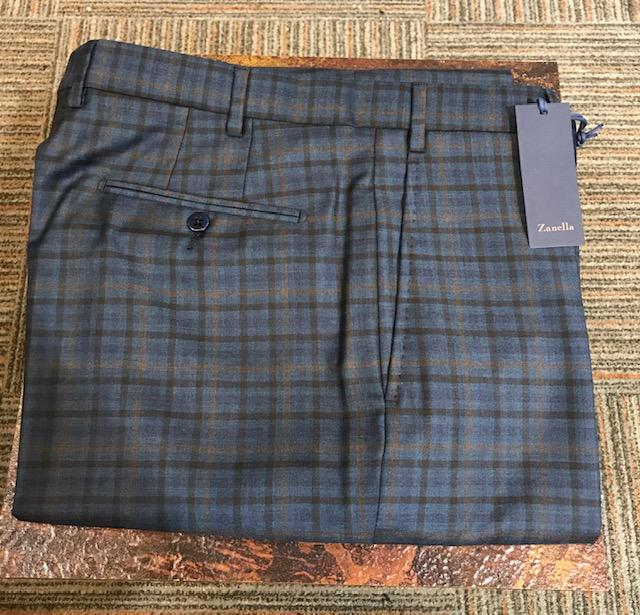 NEW 2019 Zanella Todd Flat Front Slack Blue Plaid
