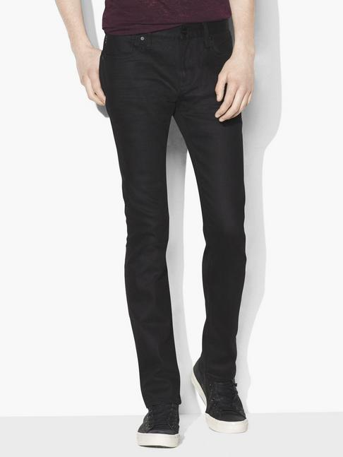 John Varvatos Bowery Coated Cotton Stretch Jean Black