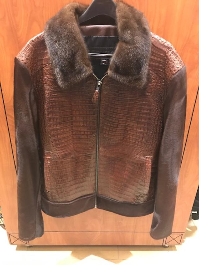 G Gator Jake Wood Alligator Mink Collar Jacket Brown