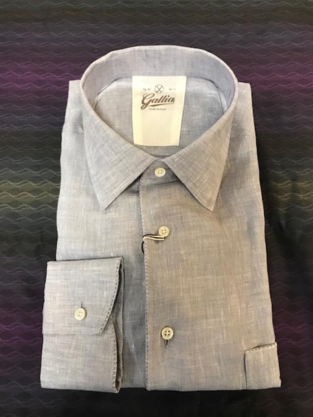 Gallia Men's Lux Linen Sport Shirt Light Grey