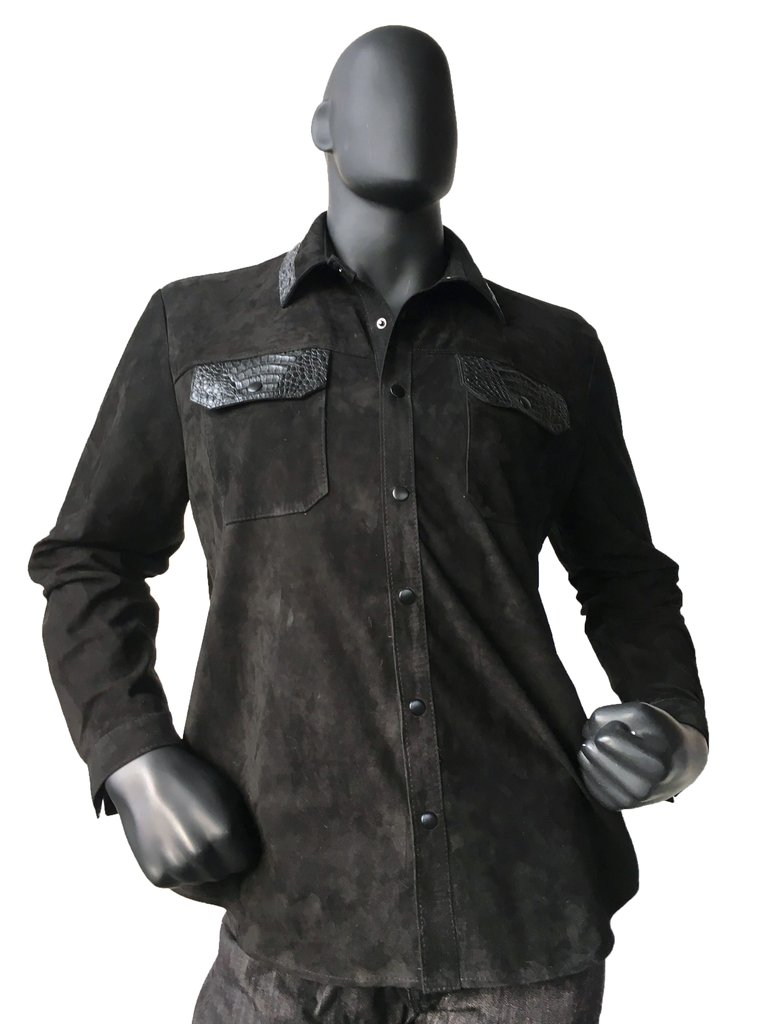G Gator Leather Shirt W Alligator Trim 703