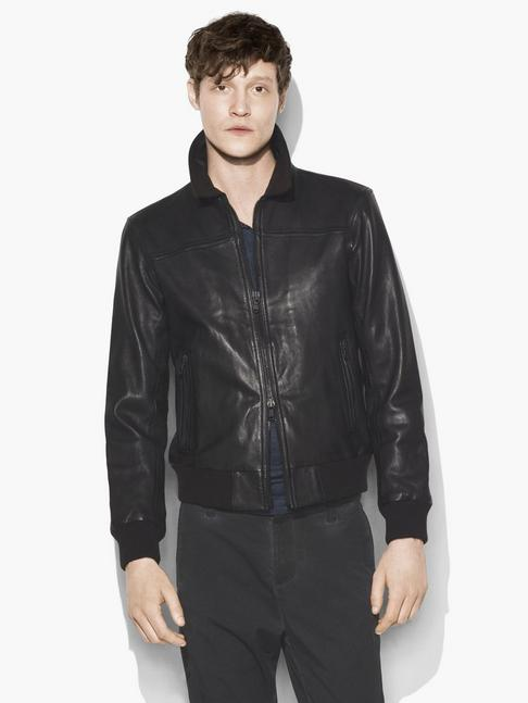 John Varvatos Leather Jacket Black