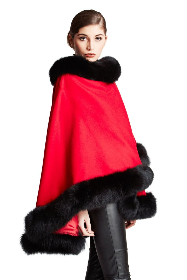 Belle Fare The Sheridan Cashmere Cape with Fox Trim