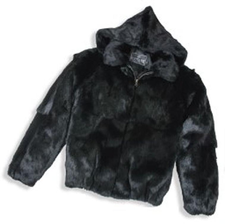 Winter Furs Men's Full Skin Rabbit Fur Detachable Hood Jacket