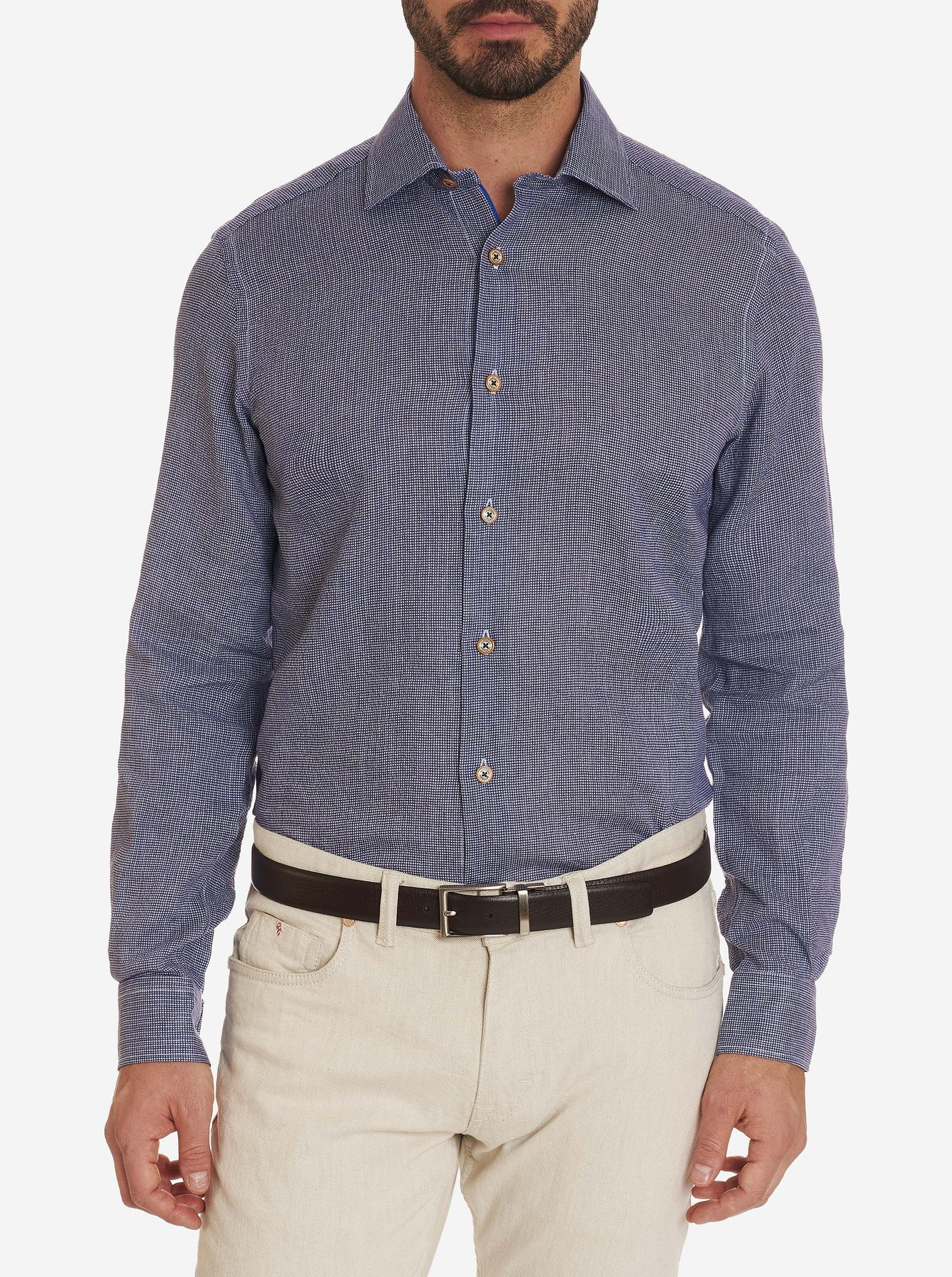 Robert Graham Betto Seersucker Linen Sport Shirt Blue