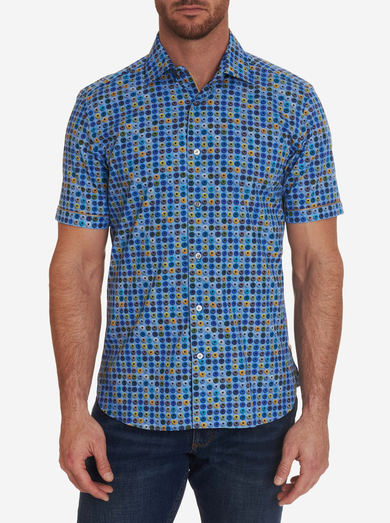 Robert Graham Classic Fit Franco Short SLeeve Shirt Blue