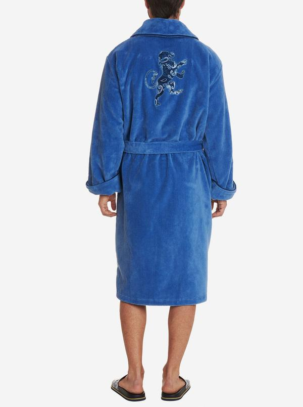 Robert Graham Lion Embroidered Velour Terry Robe Blue
