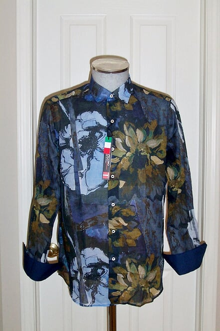 Men's Tarcisio Italy flower Blue Shirt