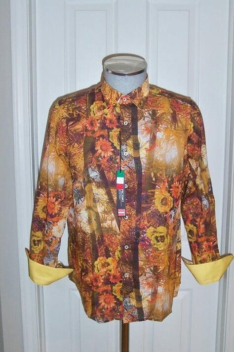 Men's Tarcisio Paciocco Italy Flower Print Sport Shirt Tan