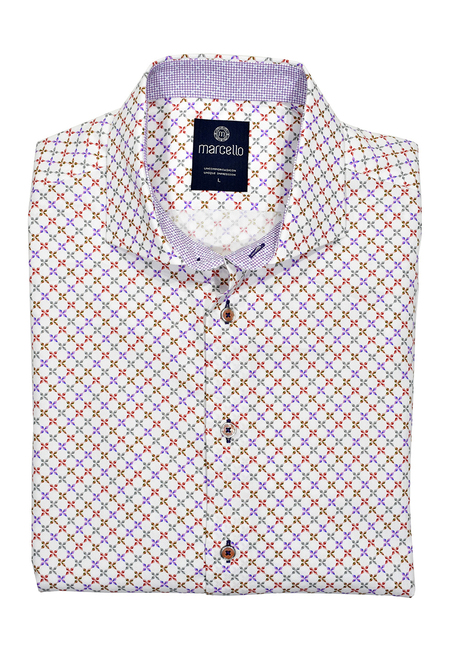 Marcello Classic Fit Print Sport Shirt W1082