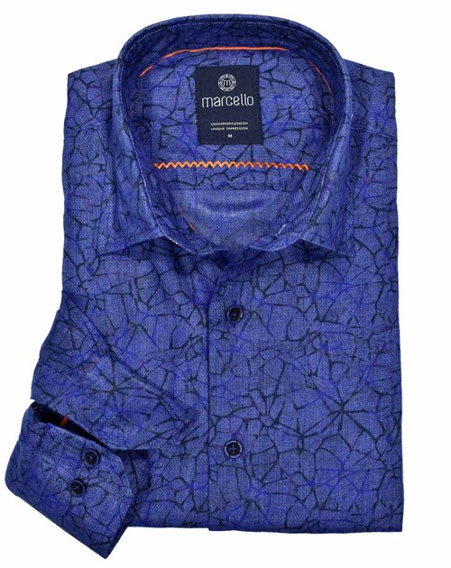 Marcello Fractured Print Sport Shirt Royal Blue W1087