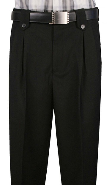 Leonardo Valenti Single Pleat Wide Leg Slack 555100 Black