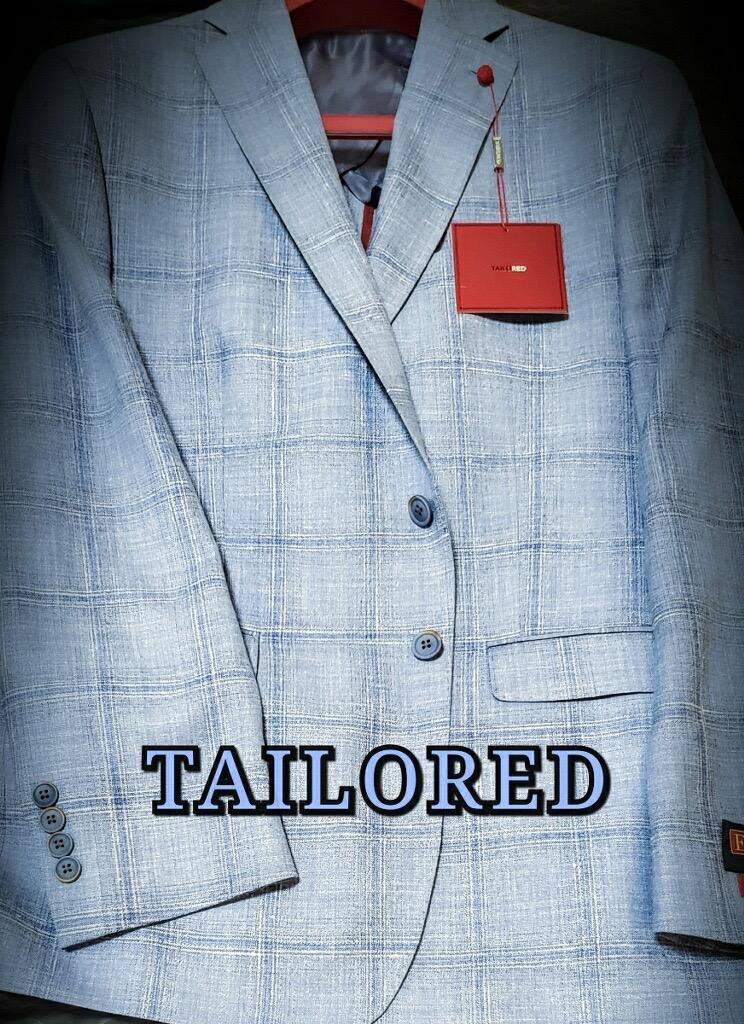 Peerless Tailor Red Sport Coat Baby Blue Windowpane