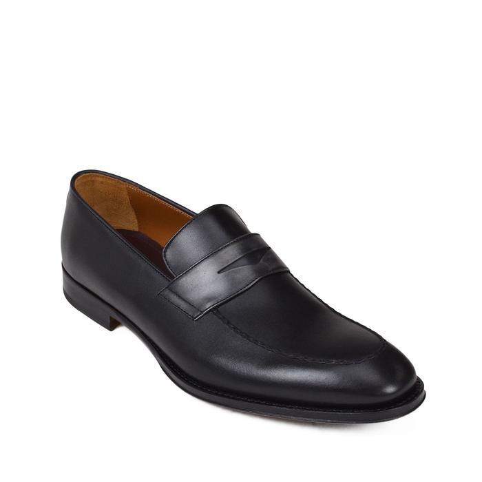Bruno Magli Fanetta Two-Tone Leather Penny Loafer Black Grey