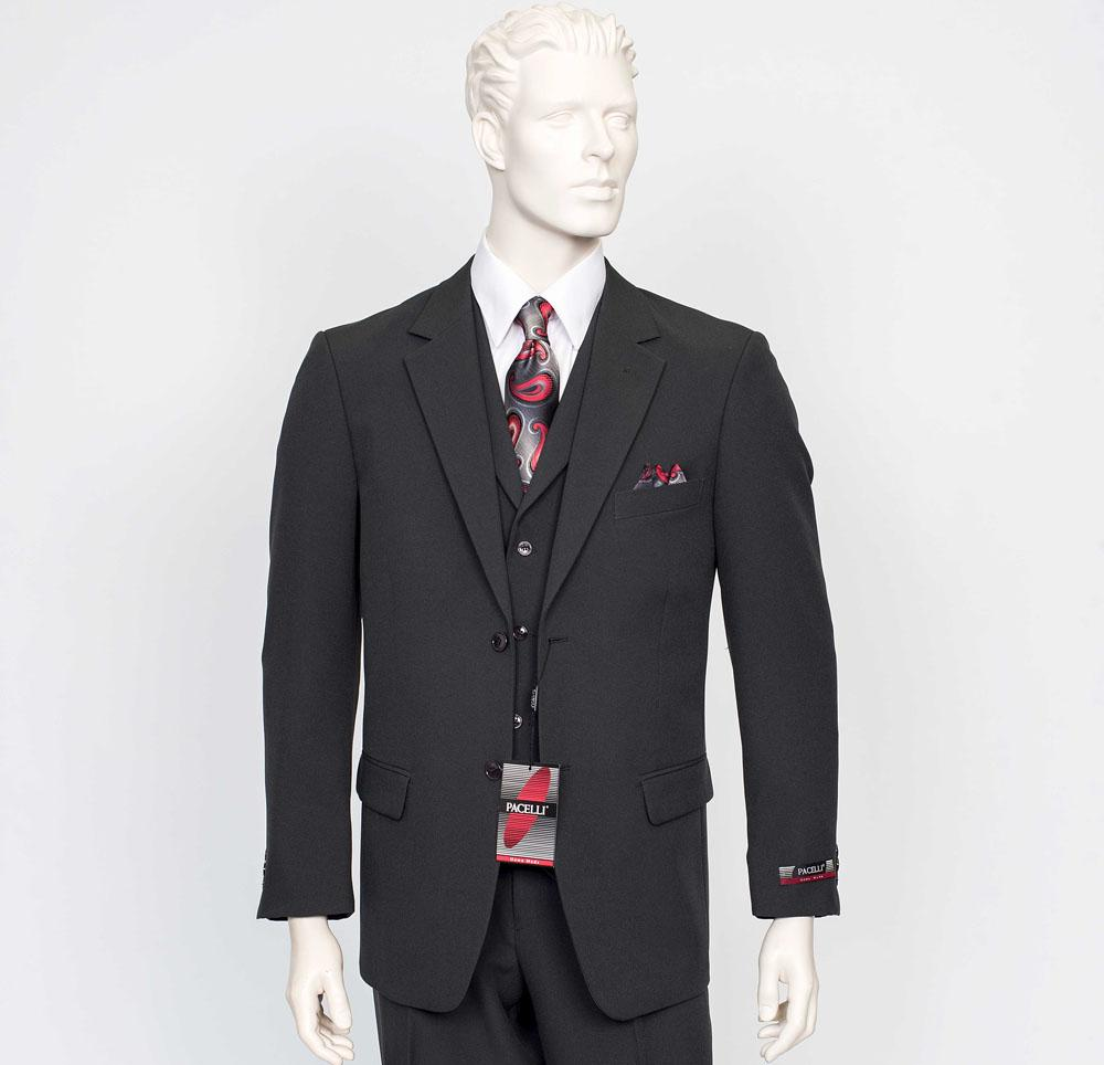 Pacelli 3pc Black Suit CAMERON