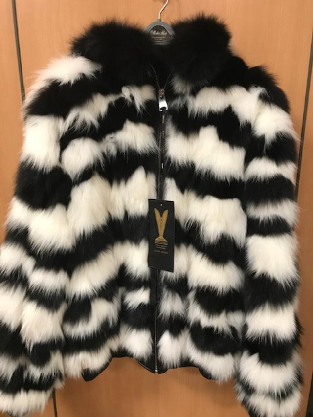 The Mister Shop Long Fox Hooded Fur Jacket Black/White