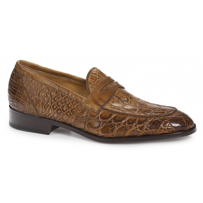 2020 Mauri Hand Painted Crocodile Penny Loafer Brandy 4862