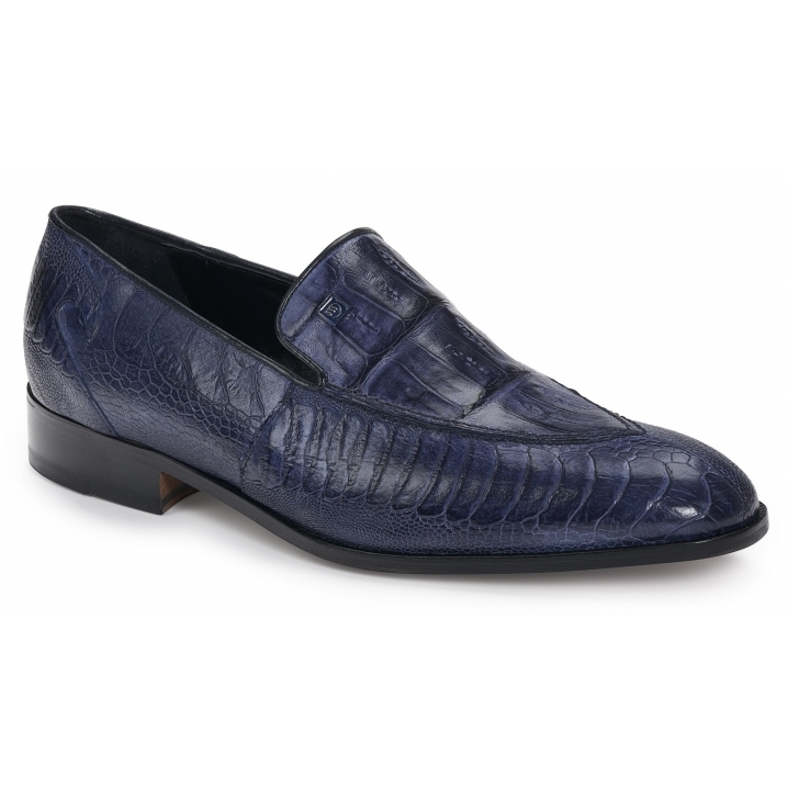 2019 Mauri Serio Handpainted Ostrich Leg Slip On Blue 4878