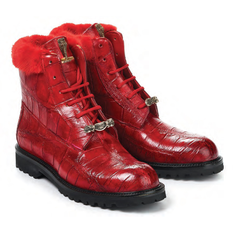 2020 Mauri Luxury Body Alligator Mink High Top Boot 4909 Red