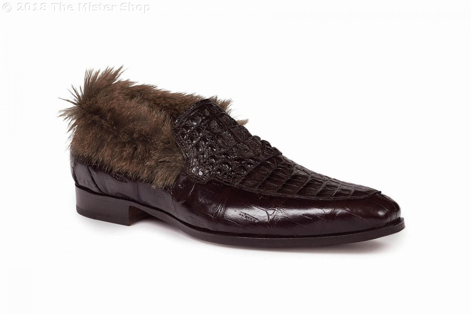Fall 2018 Mauri Romeo Baby Croc Hornback Crown Fur Trim Slip On Dark Brown 4615