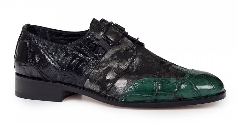 Fall 2018 Mauri Caracalla Alligator Wing Tip Green Black 53124