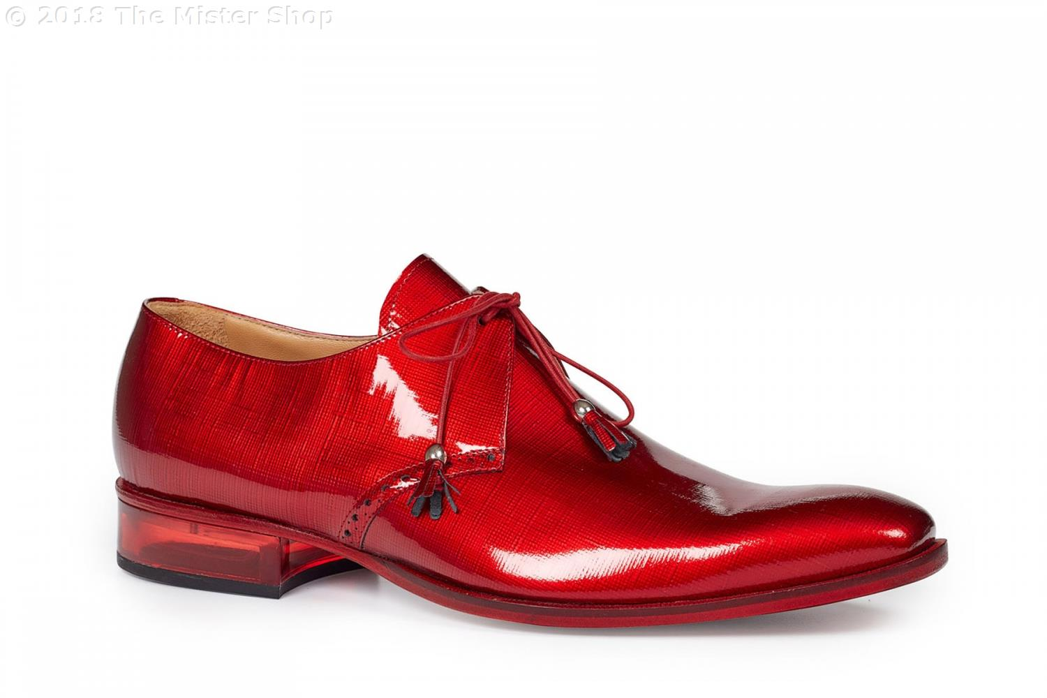 Fall 2018 Mauri Mantegna Patent Leather Lace  Up Shoe Red 4801