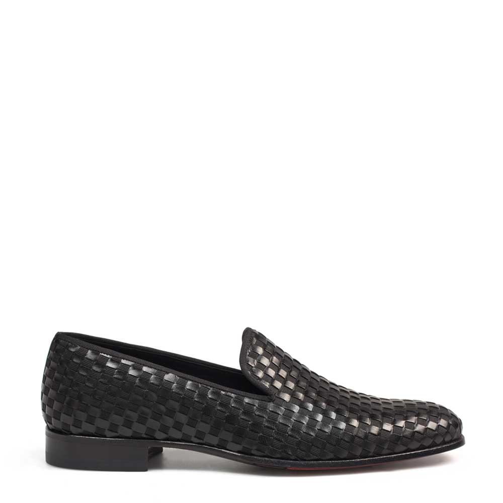 Mezlan CABA Woven Calfskin Slip On Black  9048