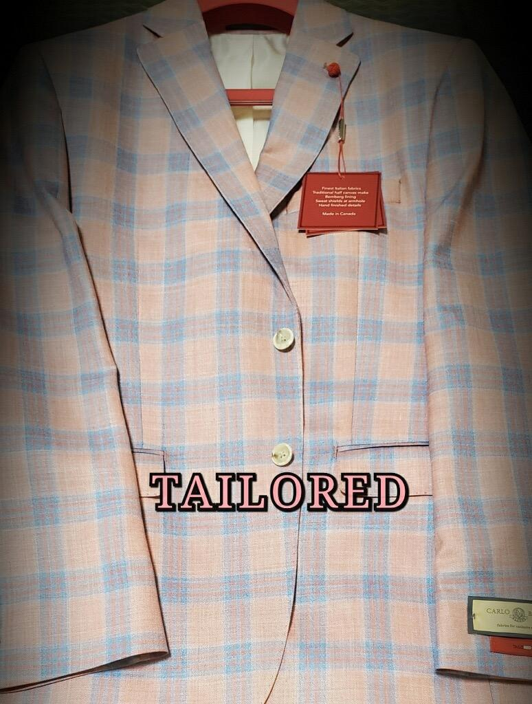 Peerless Tailor Red Sport Coat Light Pink Plaid
