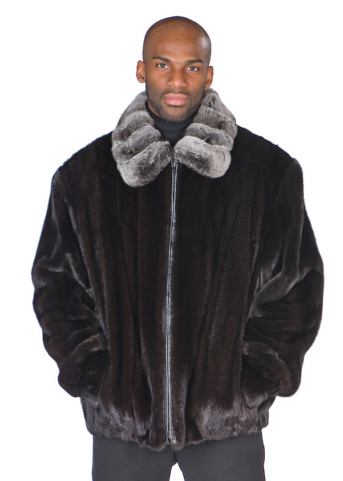 Friedman Furs Full Skin Mink W Chinchilla Collar Jacket
