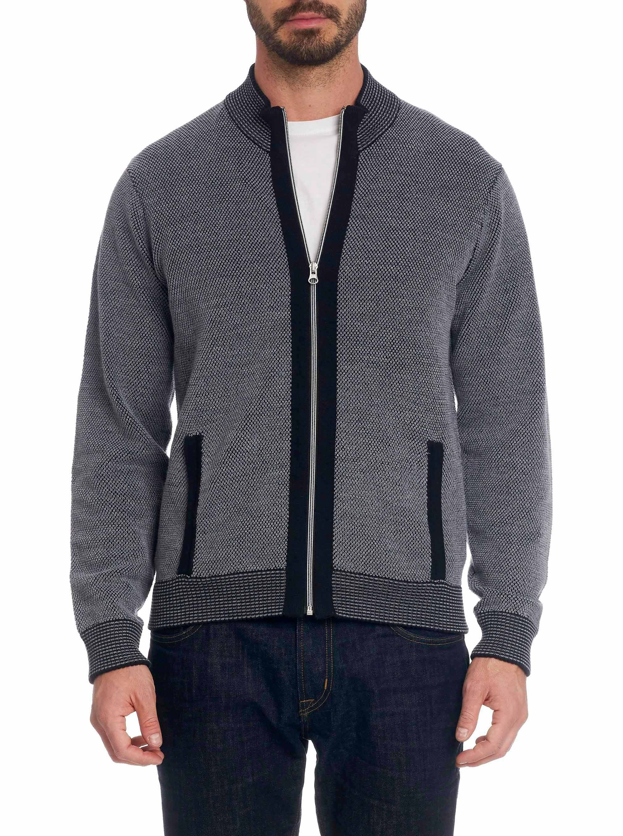 Robert Graham Conboy Wool Full Zip Knit Sweater