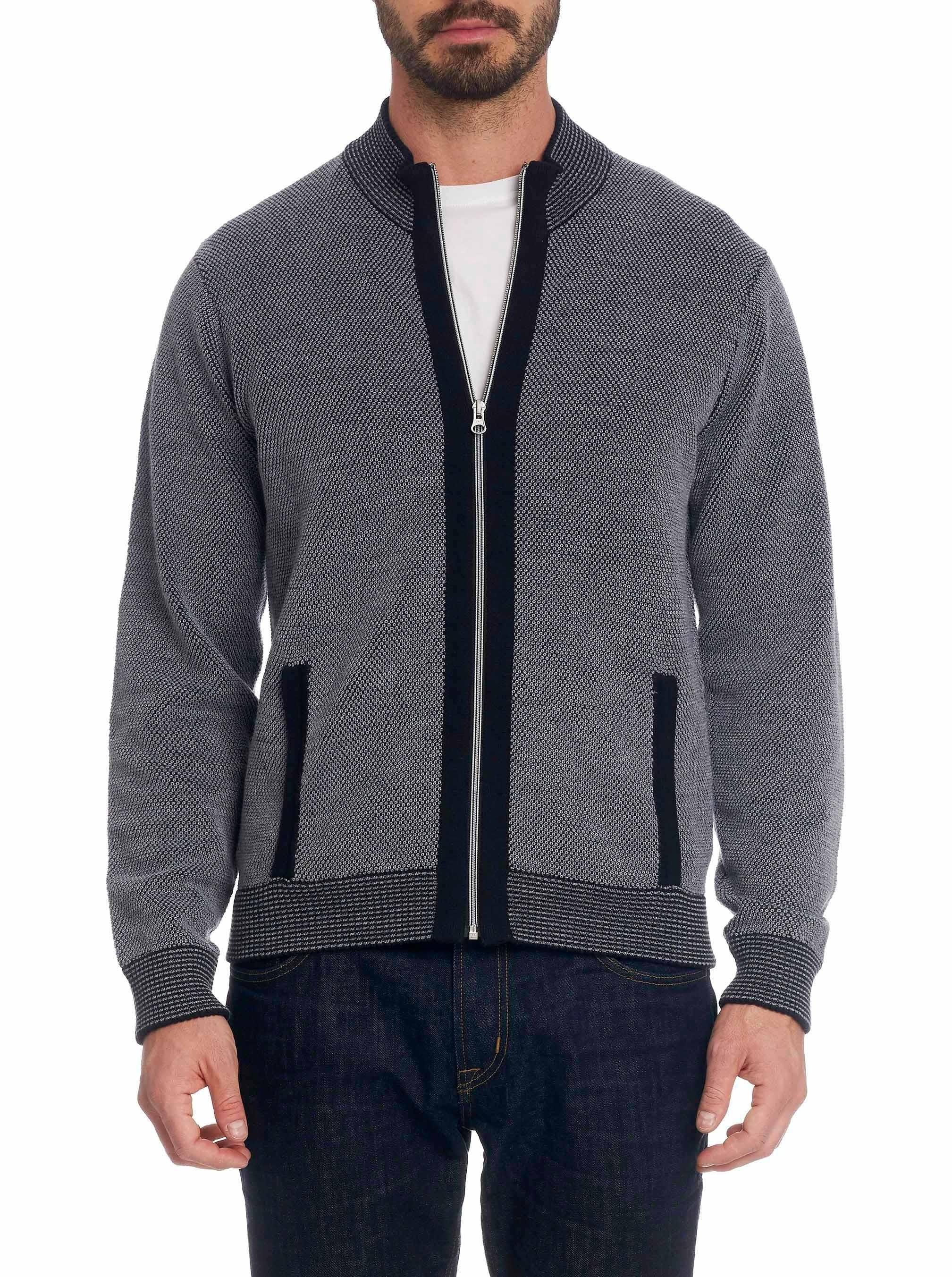 Robert Graham Conboy Wool Full Zip Knit Sweater