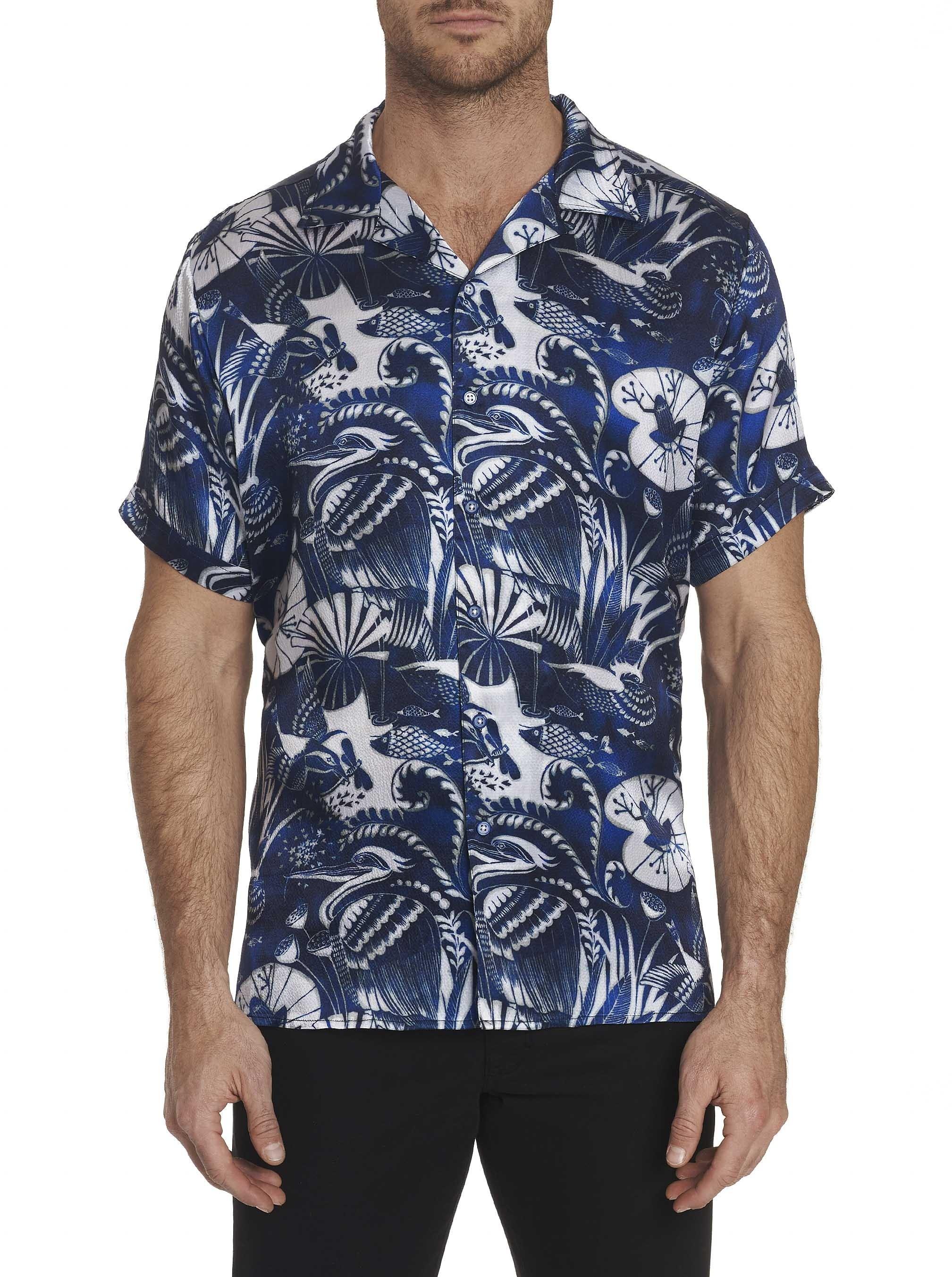 Robert Graham Blue Dragonfly Silk Short Sleeve Shirt Indigo