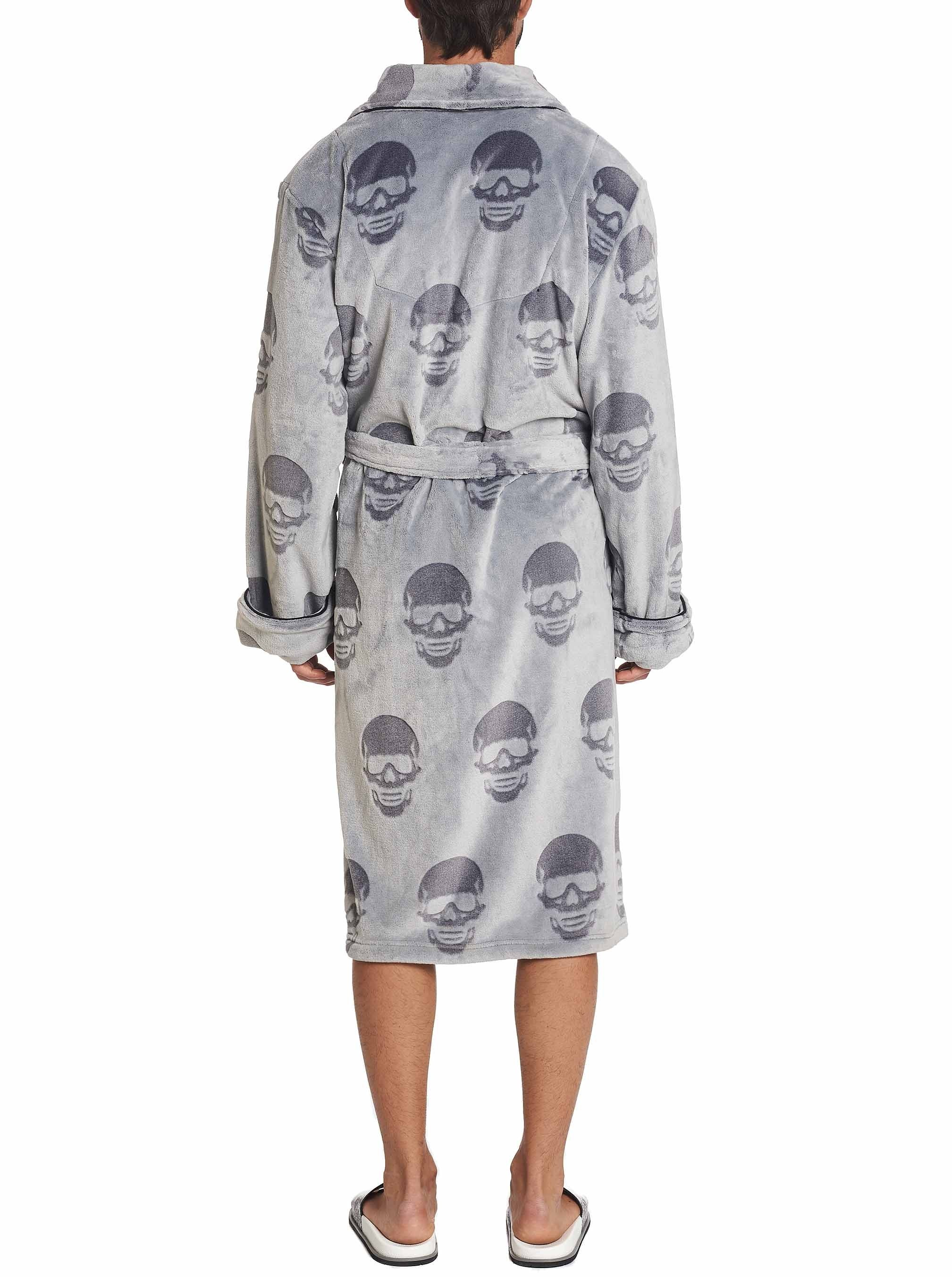 Robert Graham All Over Skull Plush Robe Grey