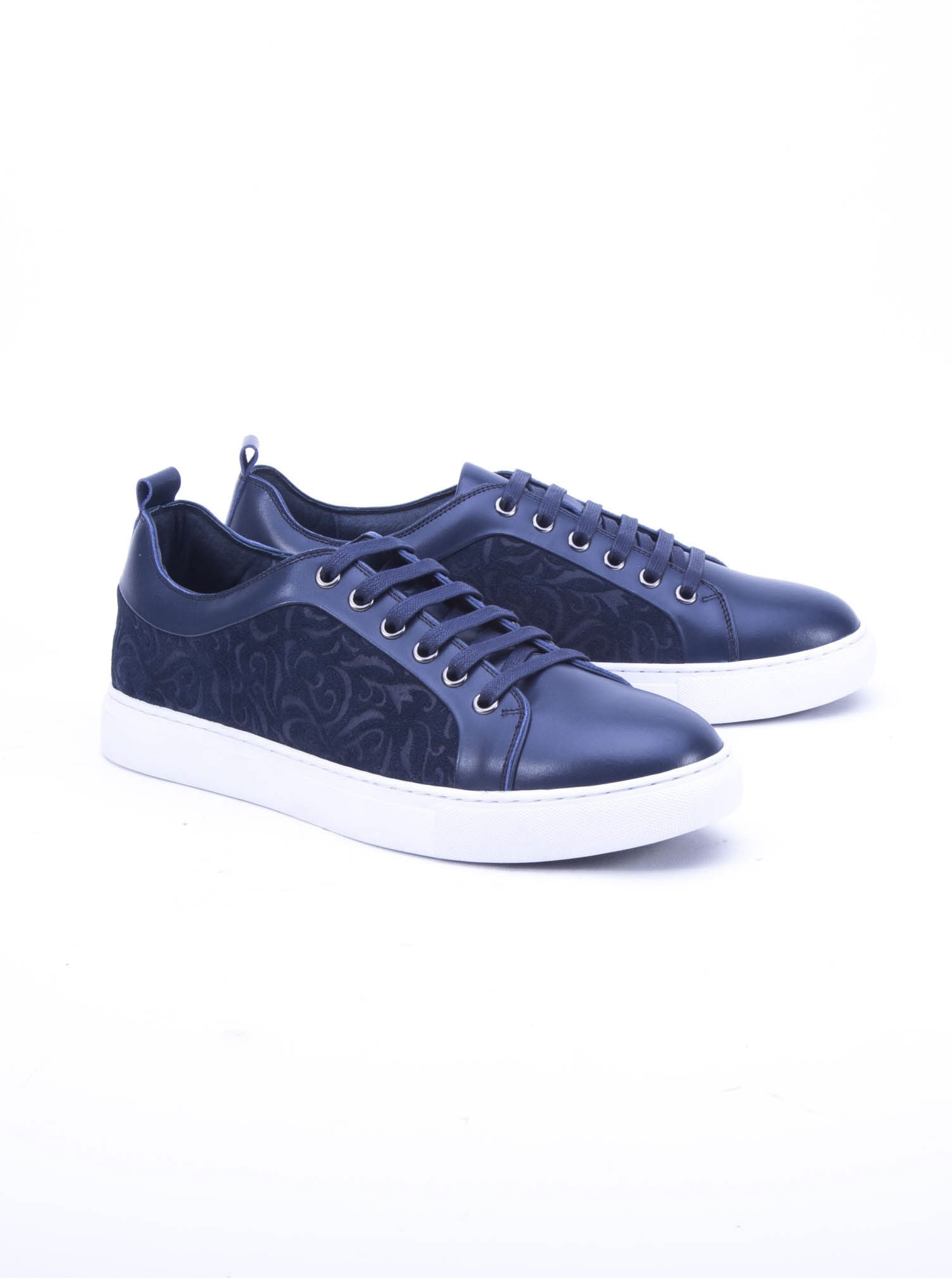 Robert Graham Creed Leather Sneaker Navy