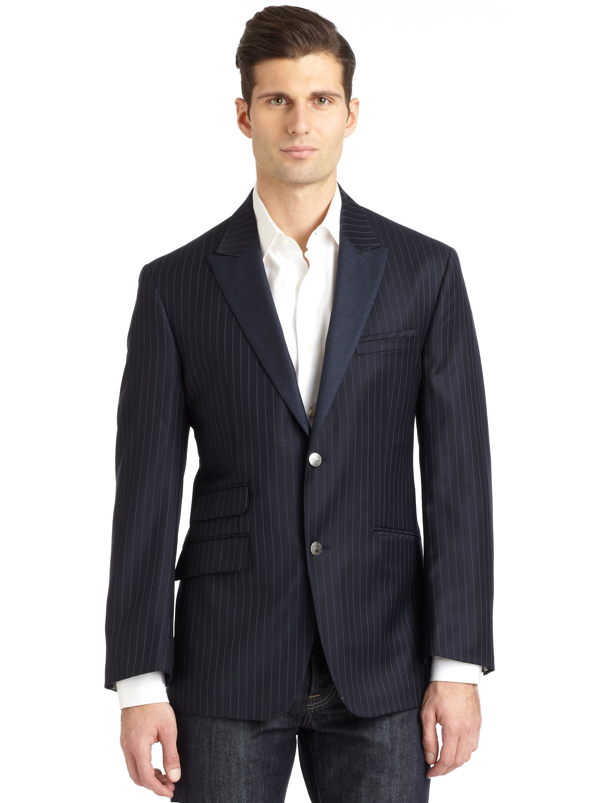 Robert Graham Canterbury Striped Wool Sport Coat Navy