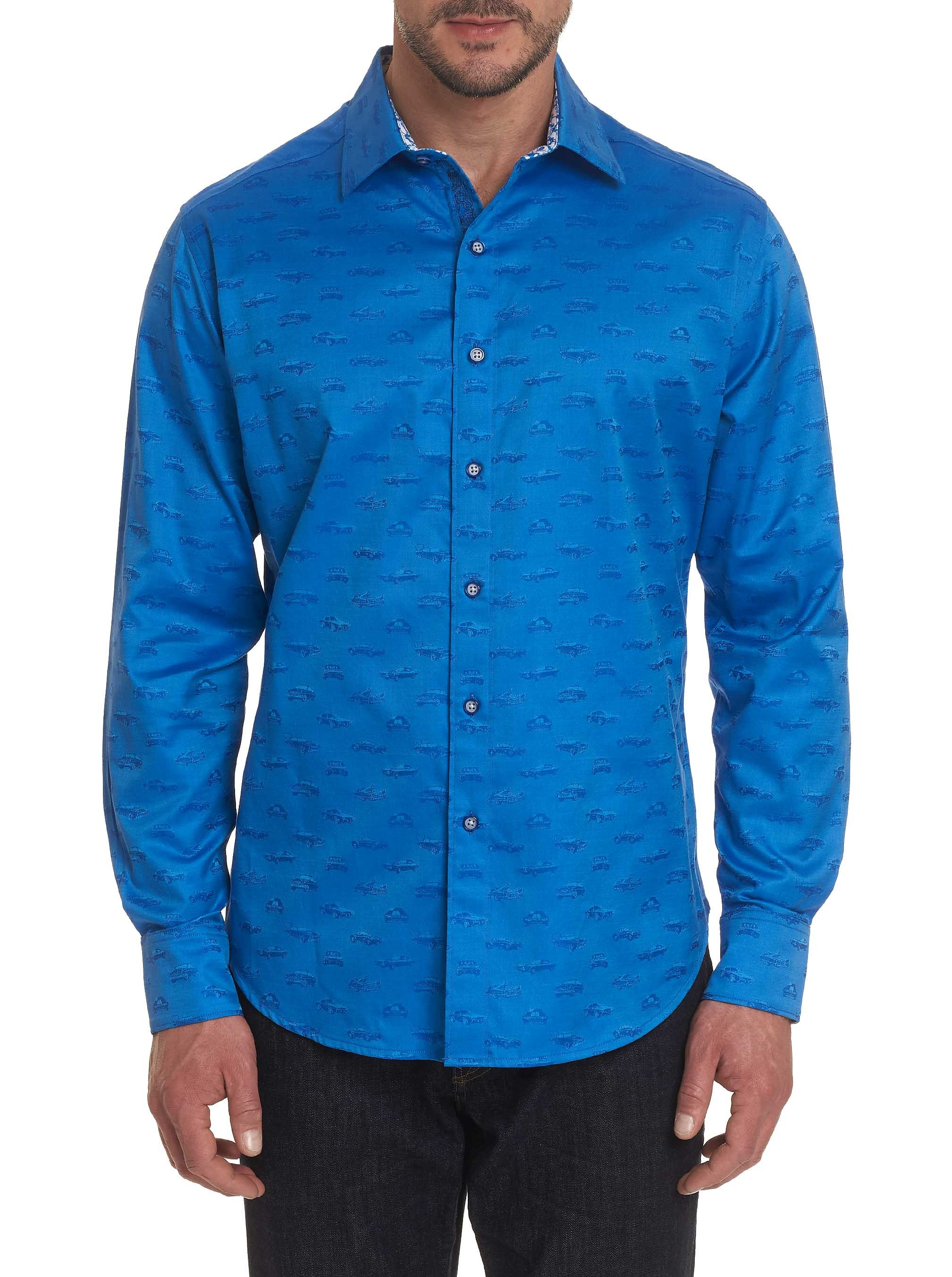 Robert Graham Car Enthusiast Sport Shirt Cobalt