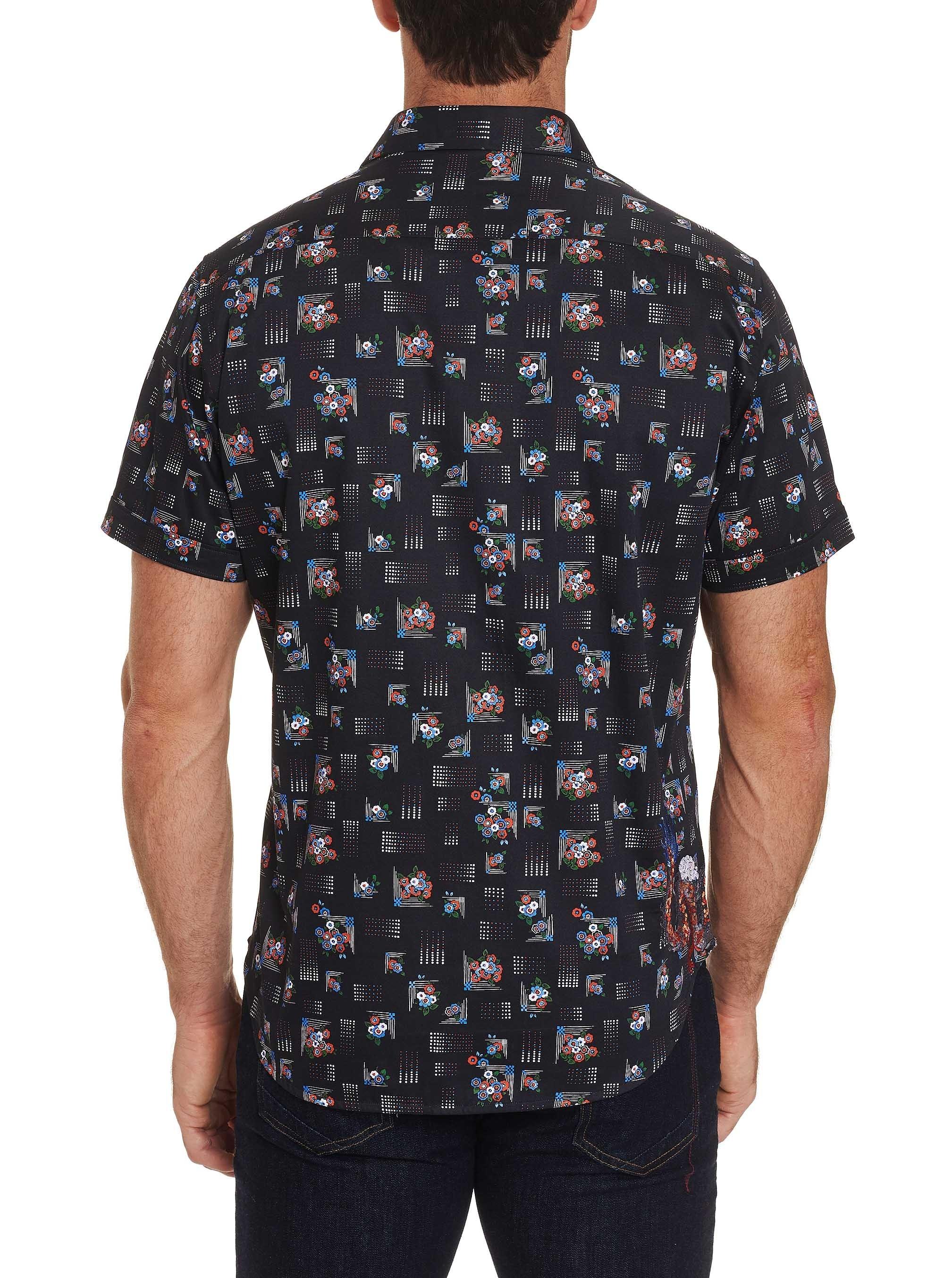 Robert Graham Castleden Embroidered Short Sleeve Shirt Black