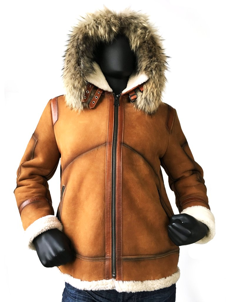 Jake Wood Shearling Sheepkin Bomber With Fur Cognac 8015