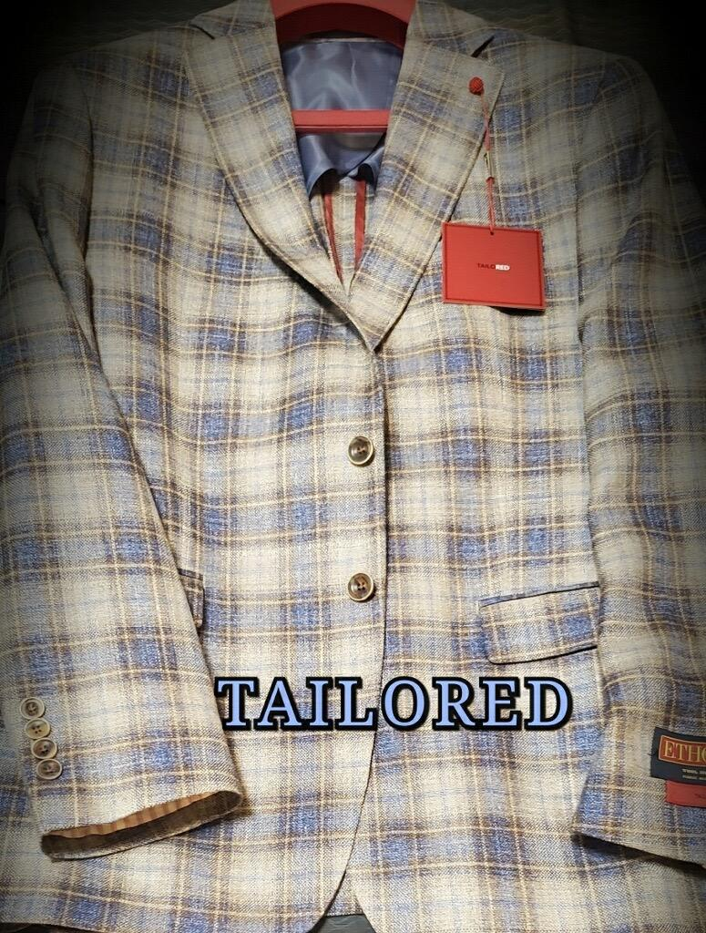 Peerless Tailor Red Sport Coat Blue Taupe Windowpane