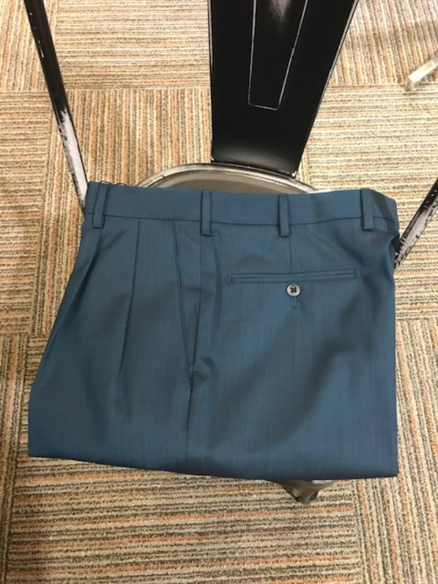 2019 Zanella Bennett Double Reverse Pleated Slacks Teal Twist