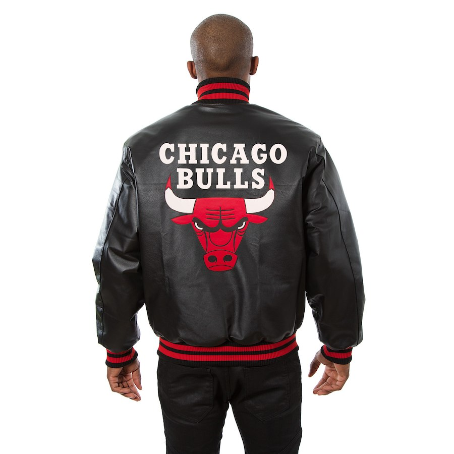 Chicago Bulls JH Design Leather Jacket Black Red