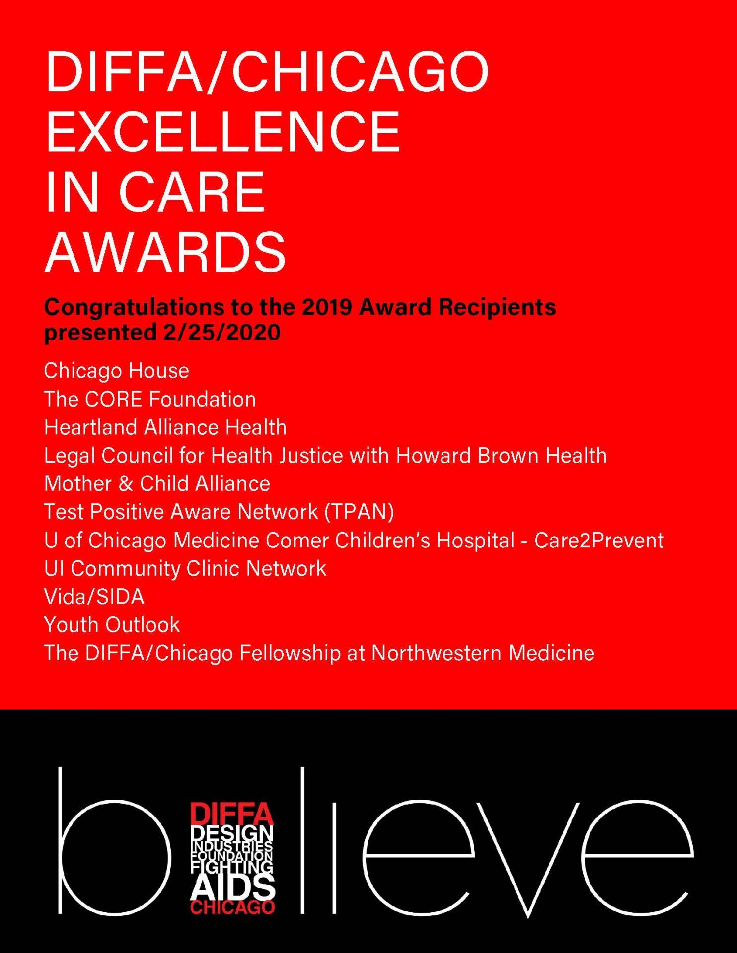 DIFFA/Chicago Announces Excellence in Care Recipients