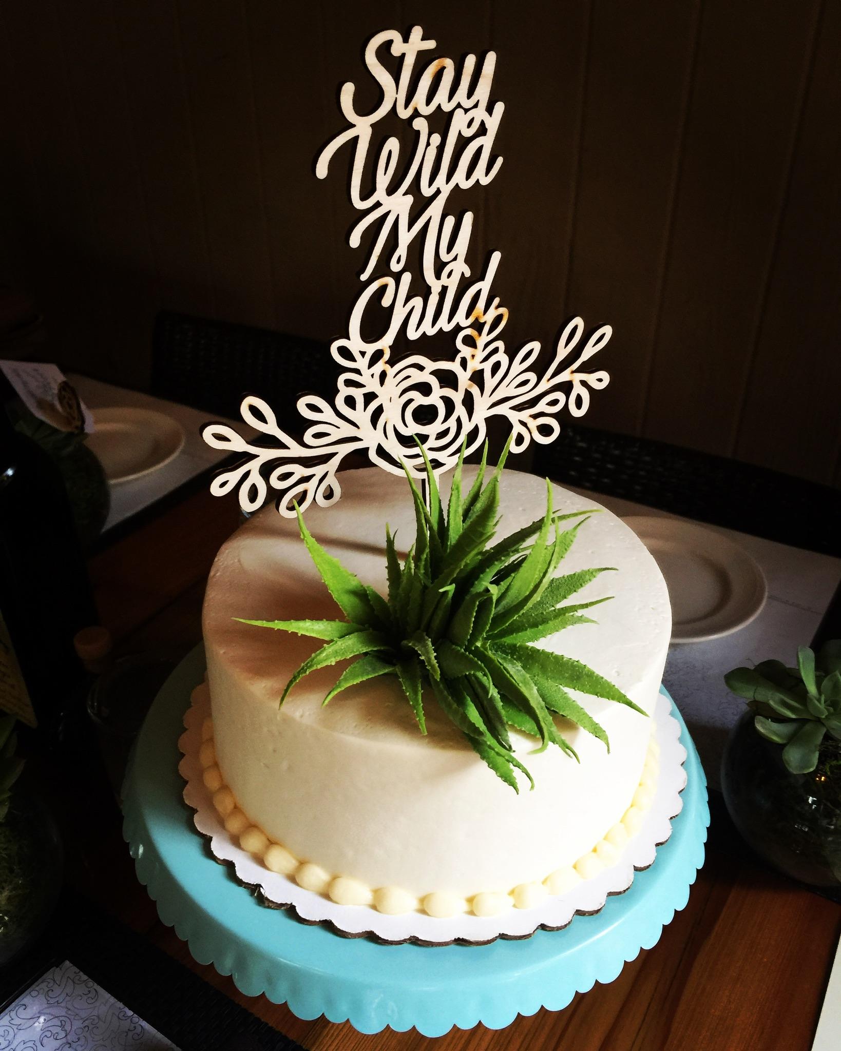 Laser cut cake topper in wood